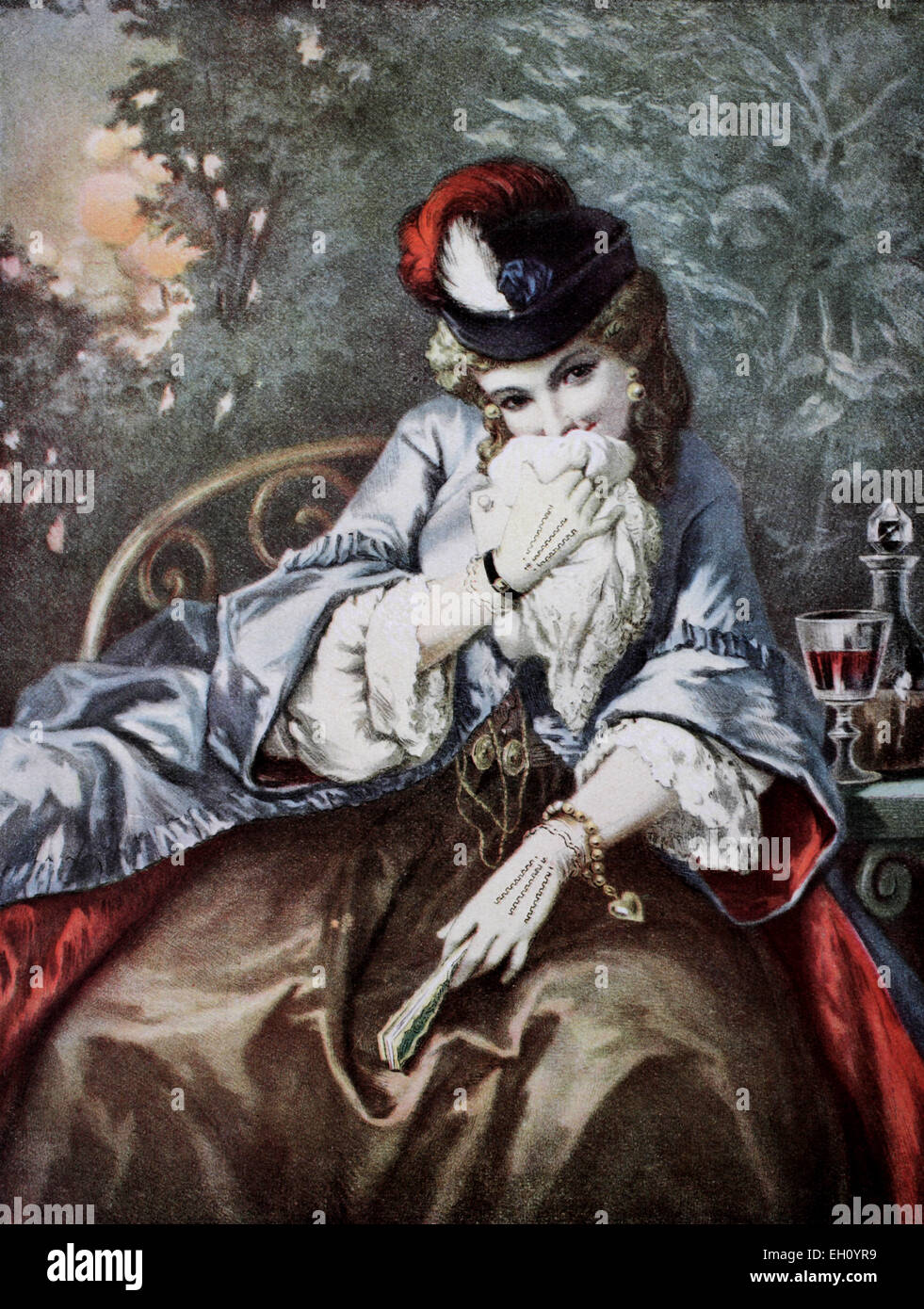 The cocotte, historic color lithograph after a painting by Gustave Dore, 1860 - Stock Image