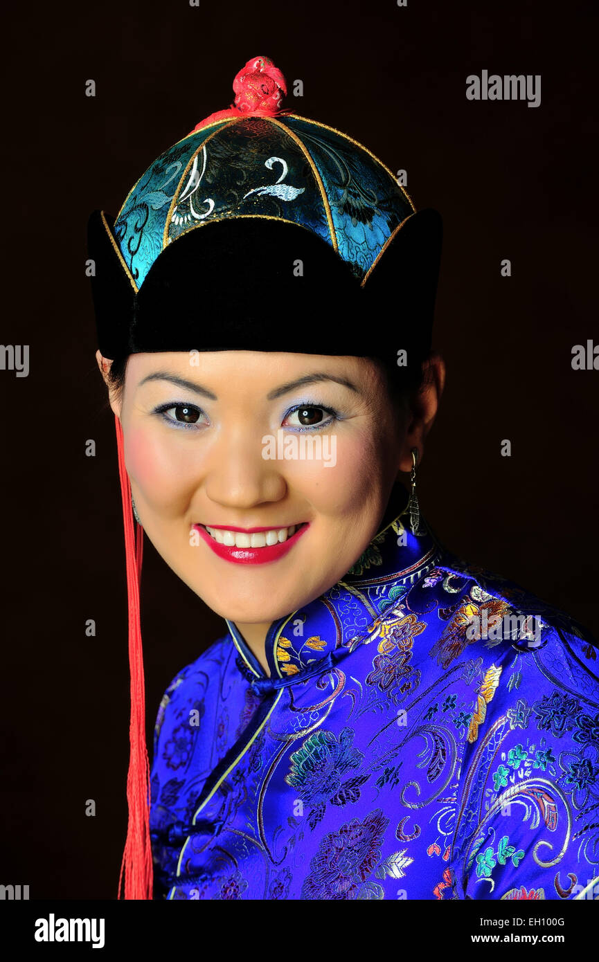 Mongolian traditional dress code, outfit, ethnic, ethno, female, fashion, design, culture, beauty, - Stock Image