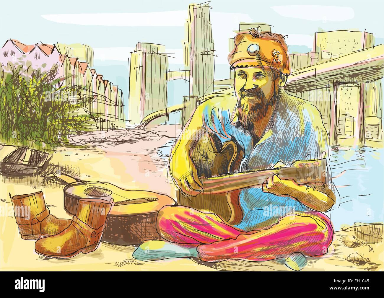 An hand drawn vector illustration. Topic: Musicians. The bearded hippie man playing the guitar - sitting on the - Stock Vector