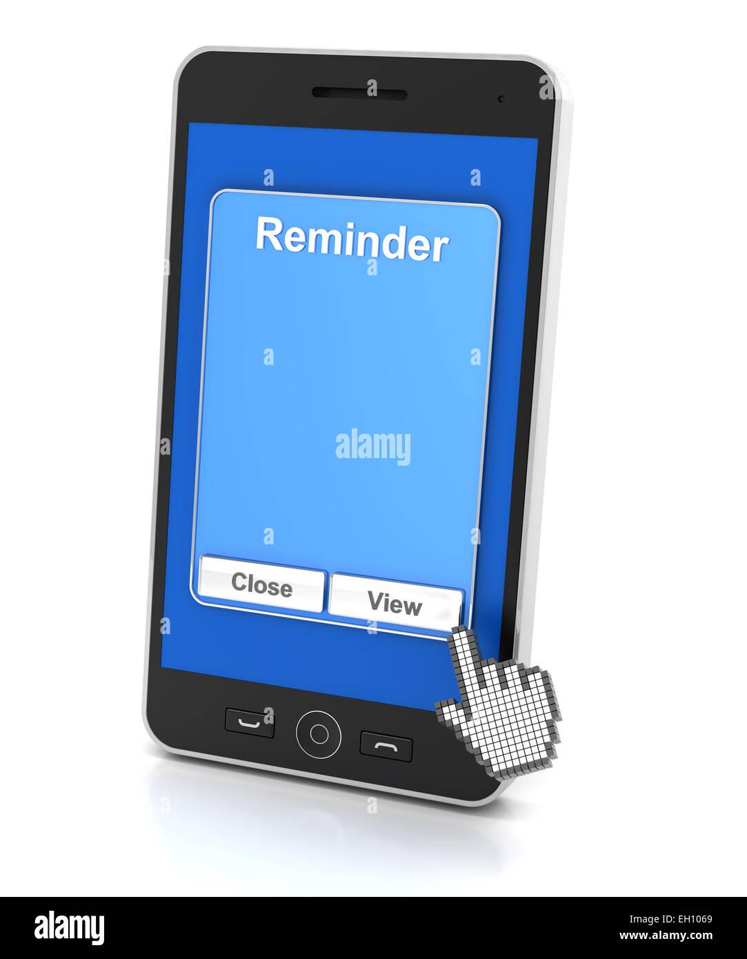 Smartphone reminder - Stock Image