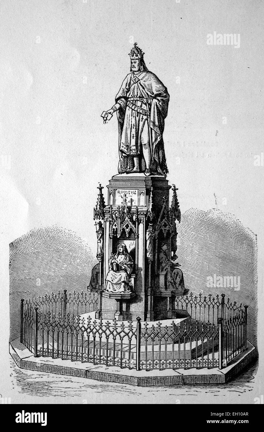 Statue of Charles IV in Prague, Czech Republic, historical woodcut, 1870 - Stock Image