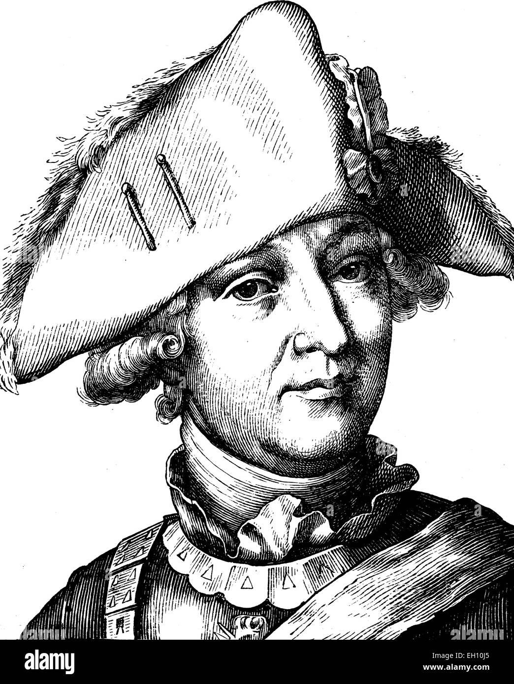 Digital improved image of Friedrich Wilhelm, Freiherr von Seydlitz, 1721 - 1773, portrait, historical illustration, Stock Photo