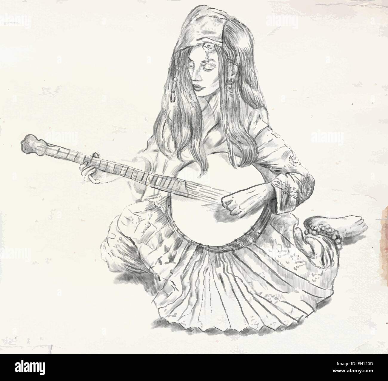 An hand drawn vector. Theme: Music and Musicians. BANJO PLAYER - An pretty woman tenderly plays the banjo. An hand - Stock Image