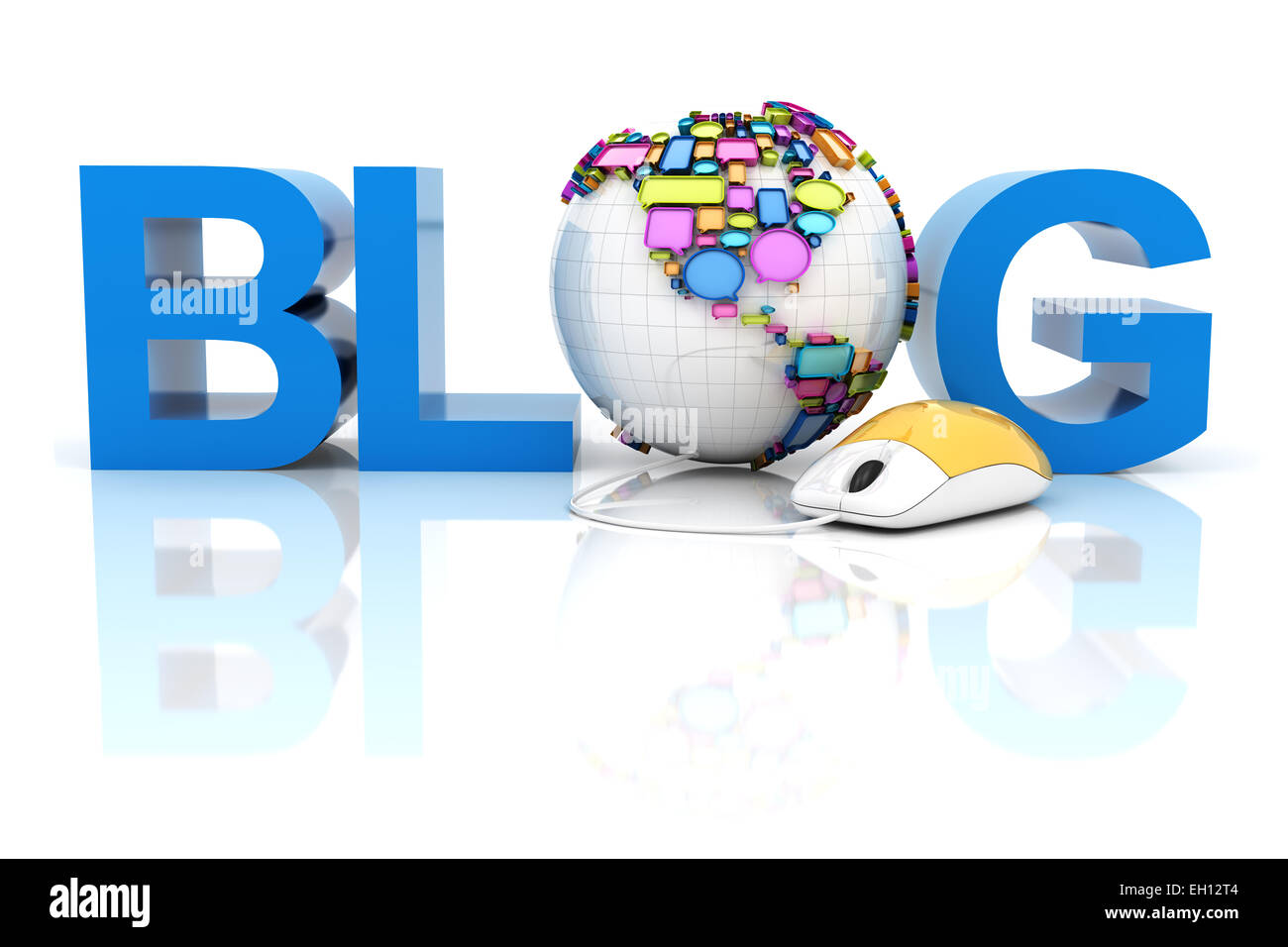 Blog with globe formed by speech bubbles - Stock Image
