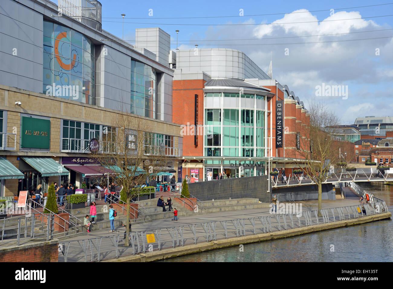 Riverside Level showing Debenhams Department Store, The Oracle, Reading, Berkshire, England, United Kingdom - Stock Image