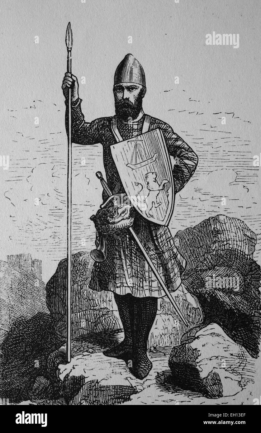 Scottish warrior from the 13th century, woodcut from 1880 - Stock Image