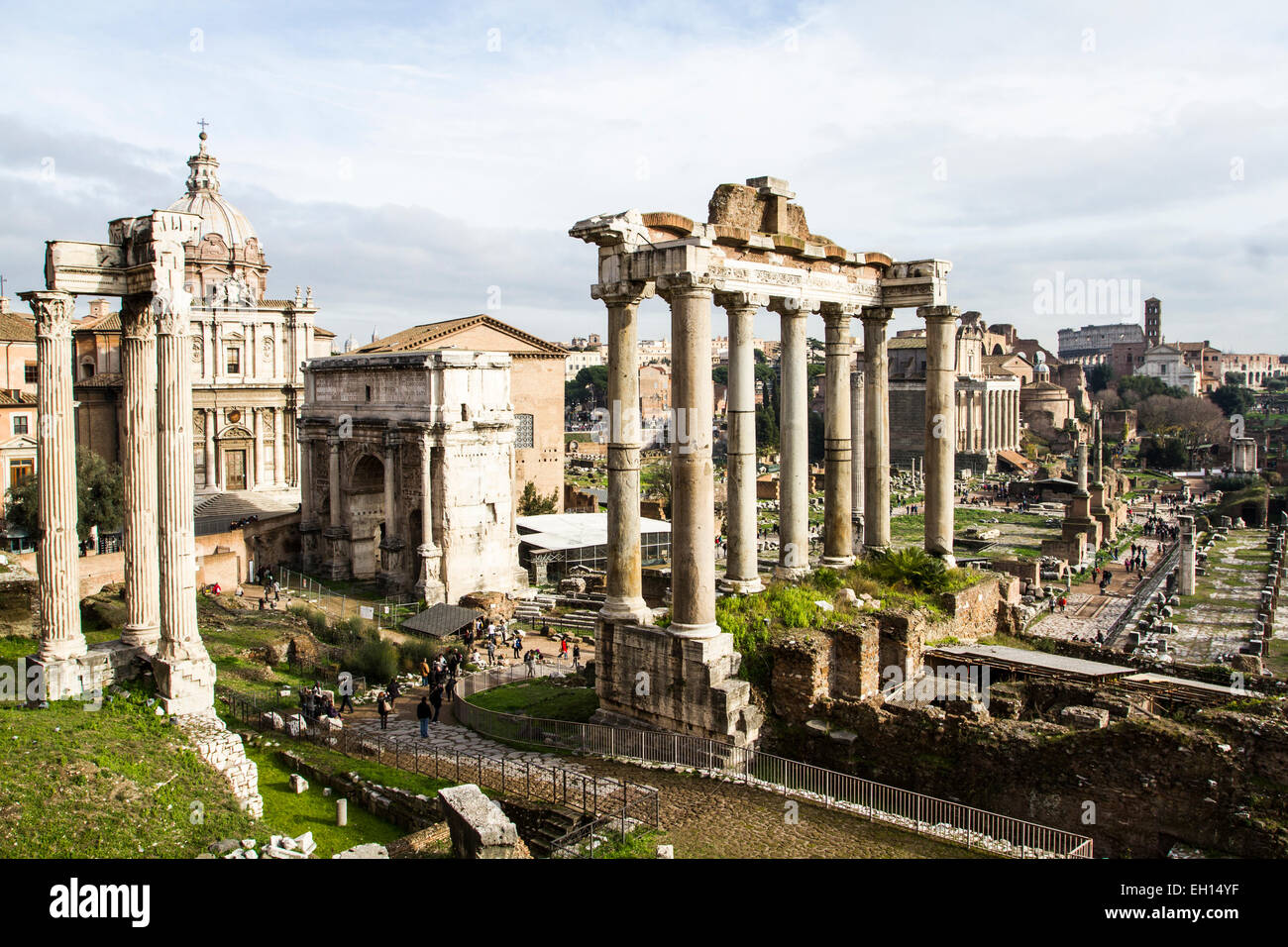 View of the Roman Forum (Foro Romano) with the Arch of Septimius Severus (Arco di Settimio Severo). - Stock Image