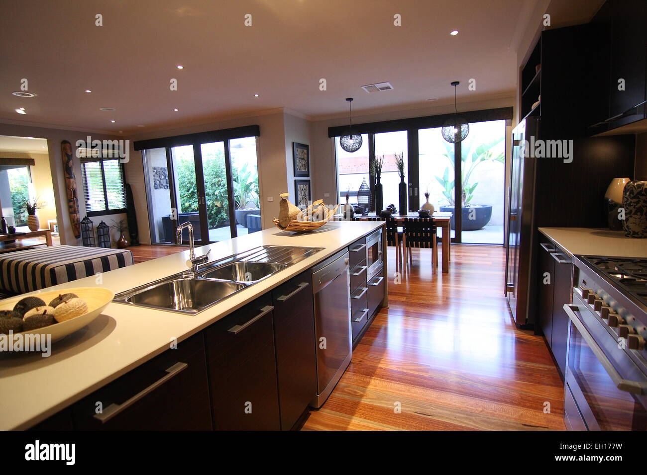 Modern Kitchen with white cabinets Stock Photo