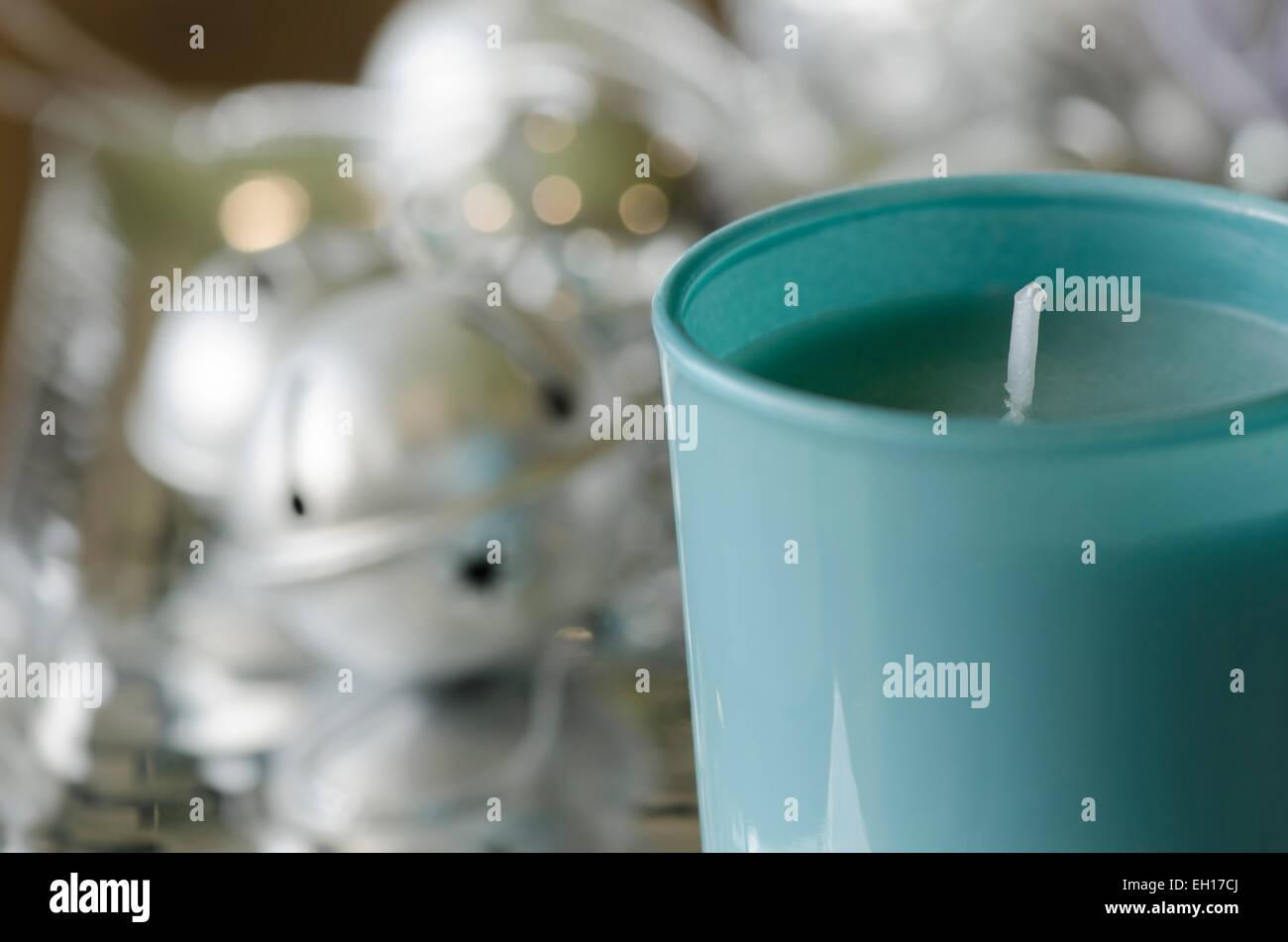Blue Christmas Unlit Festive Candle - Stock Image