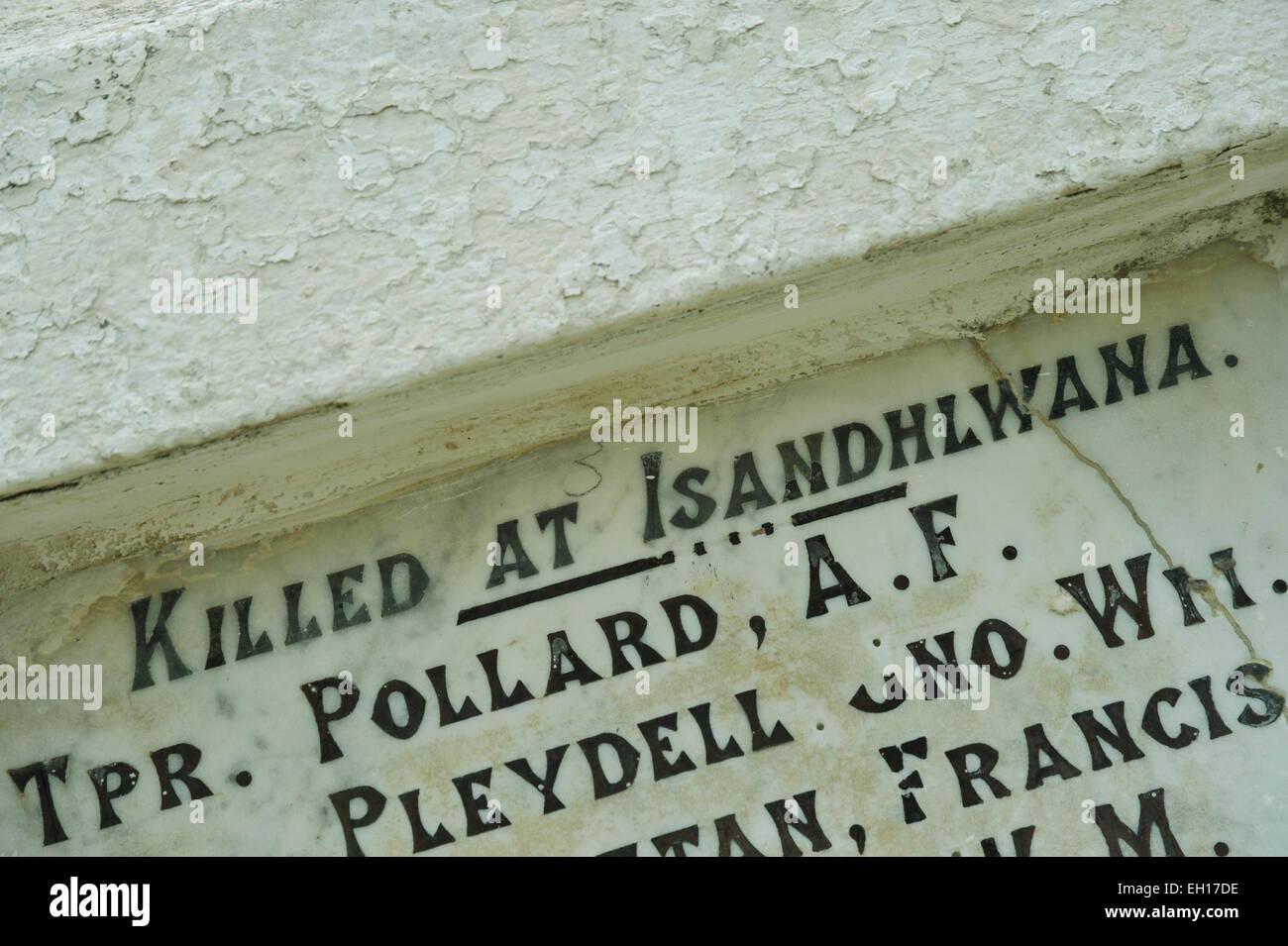 KwaZulu-Natal, South Africa, words, Killed at Isandlwana, inscription on battlefield memorial Anglo-Zulu war battle, - Stock Image