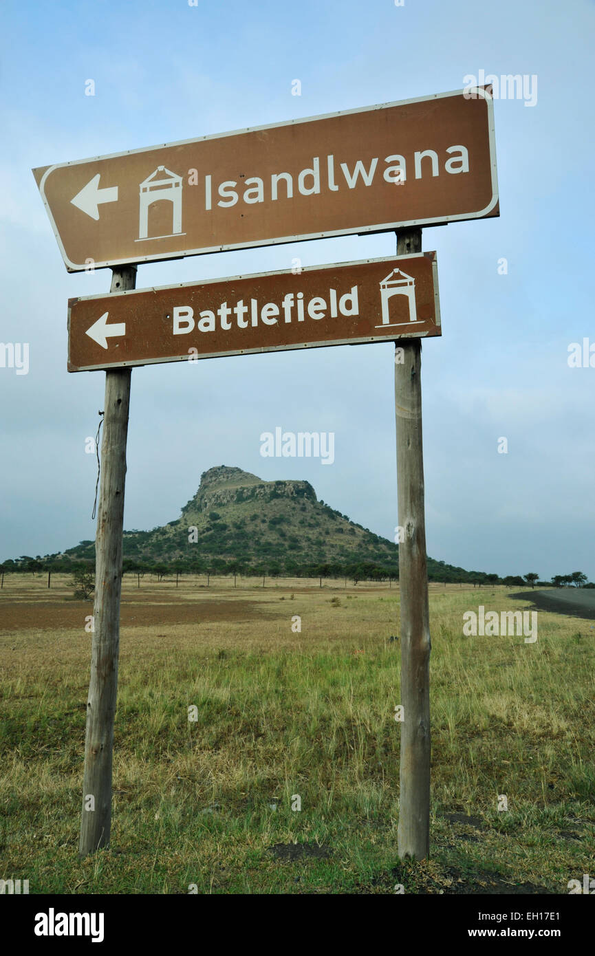 Isandlwana, KwaZulu-Natal, South Africa, road sign to battlefield site of British military defeat, Anglo-Zulu war, - Stock Image