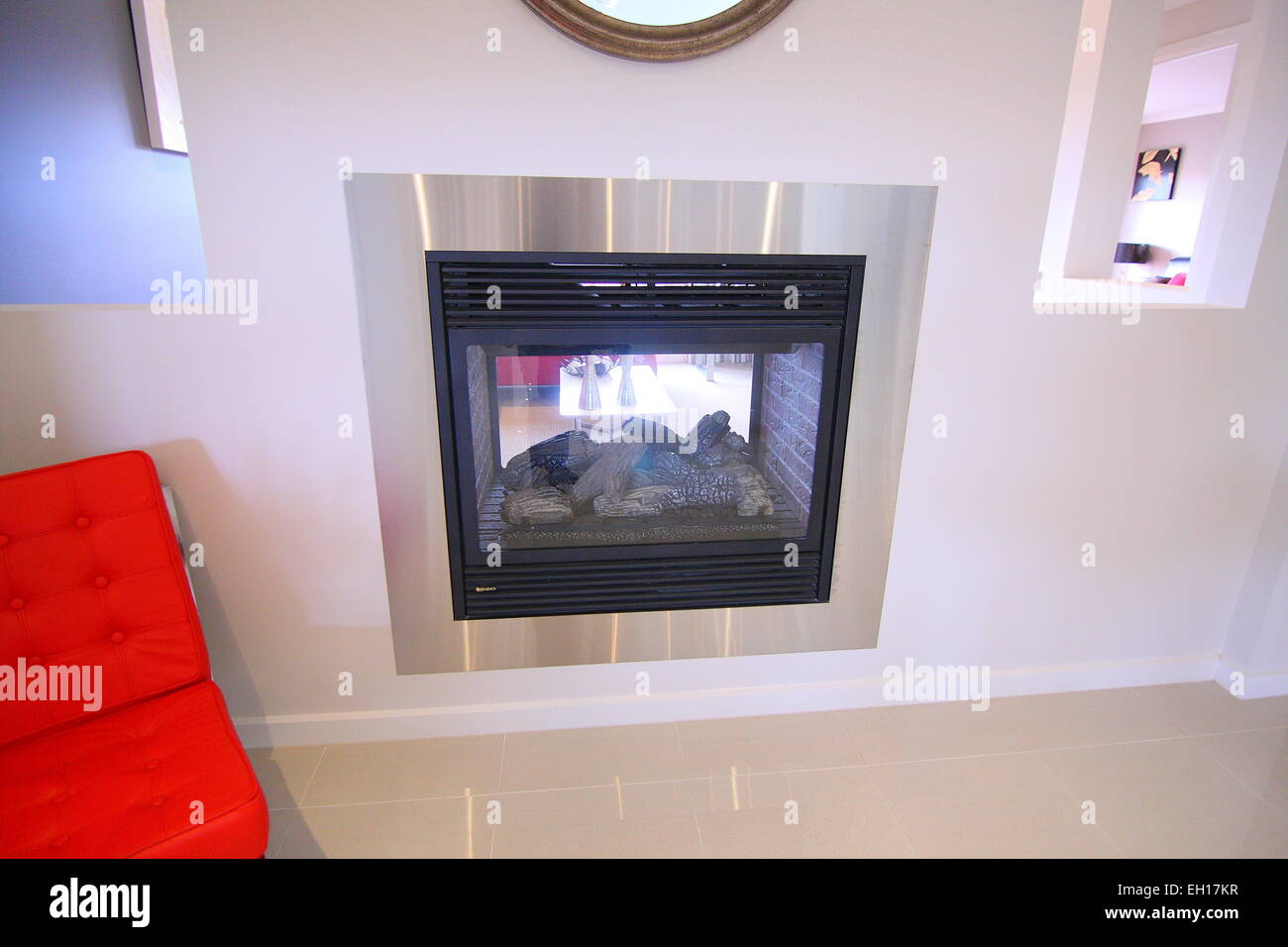 Modern fire place - Stock Image
