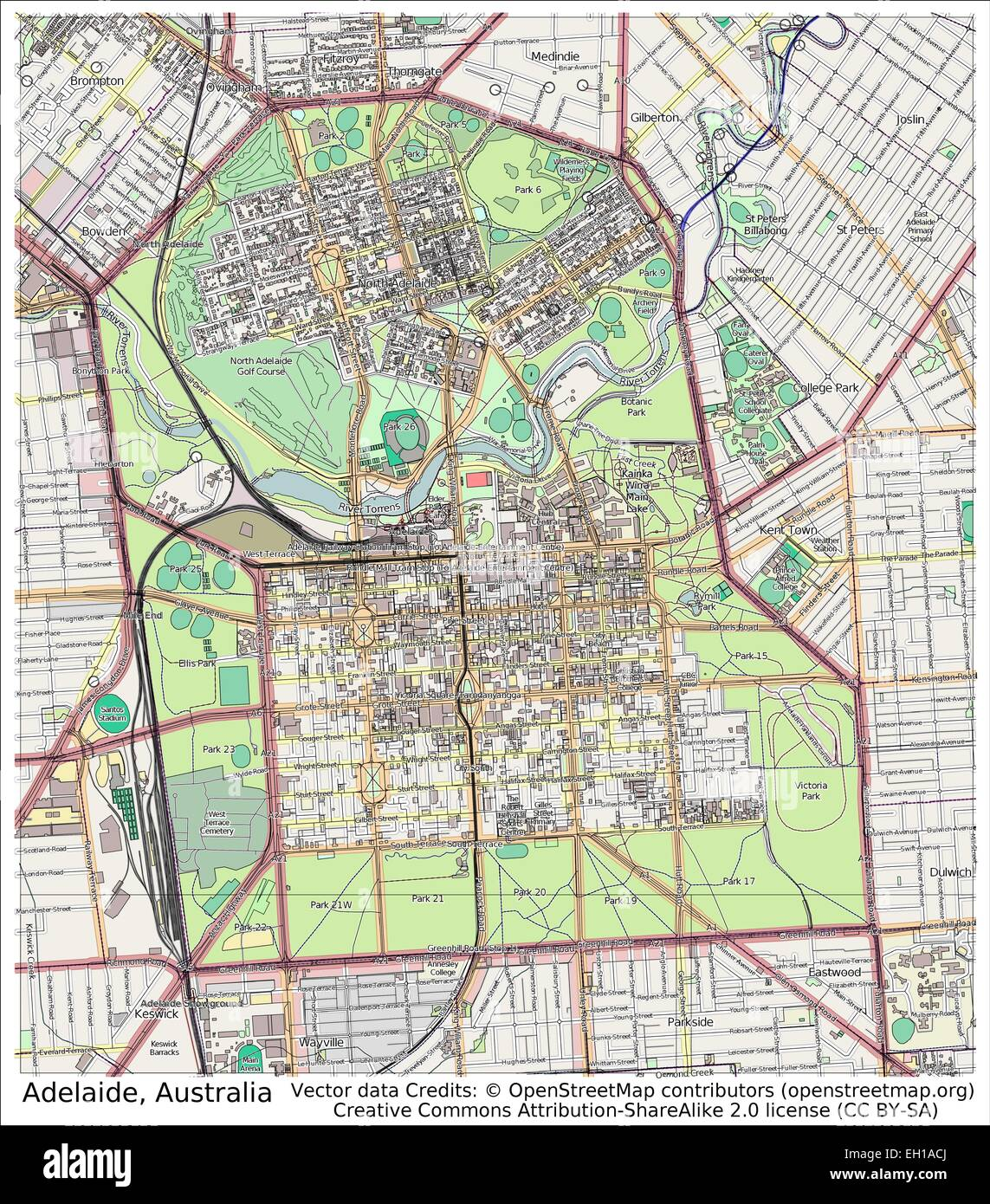 adelaide australia city map