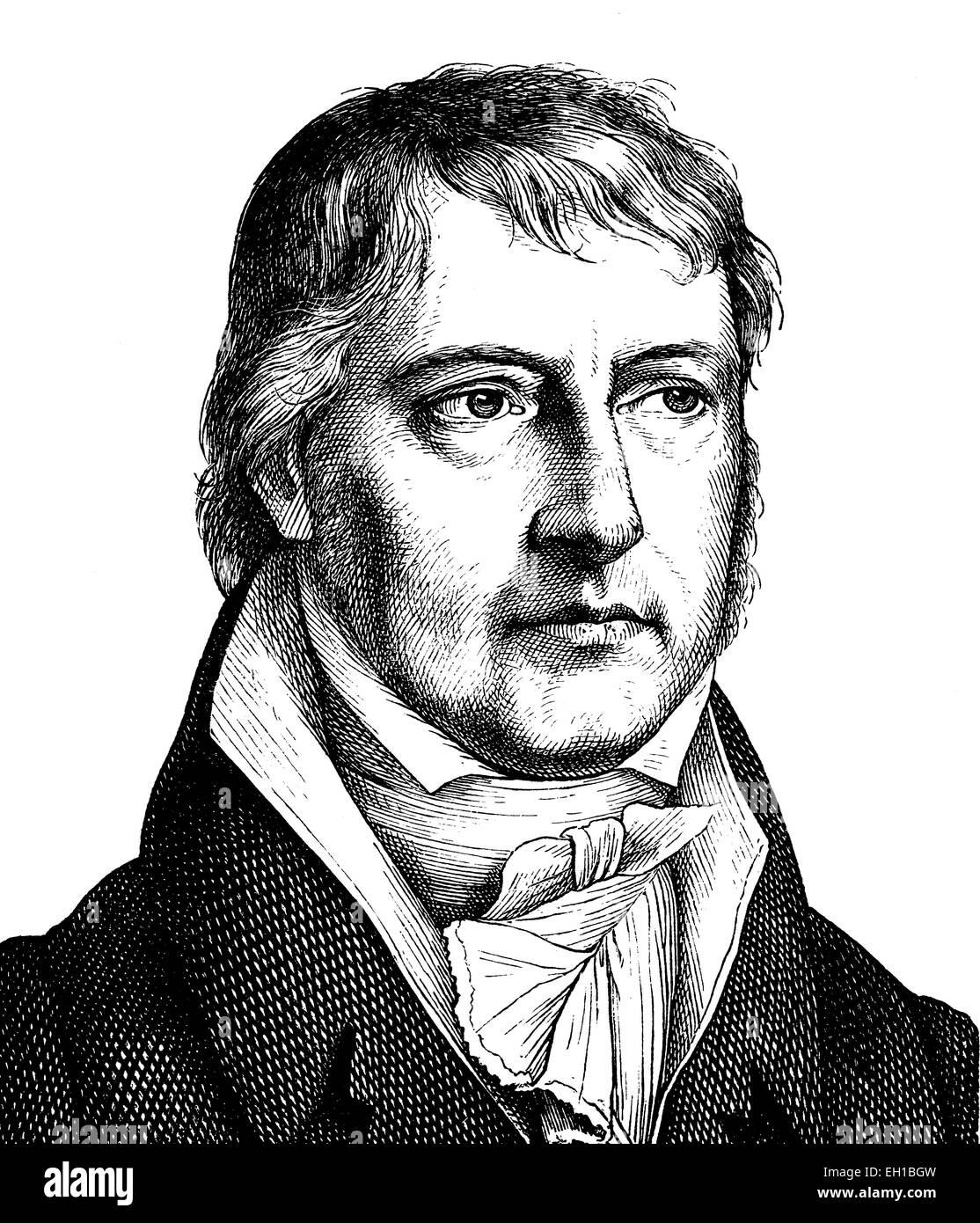 Digital improved image of Georg Wilhelm Friedrich Hegel, 1770 - 1831, German philosopher, portrait, historical illustration, Stock Photo