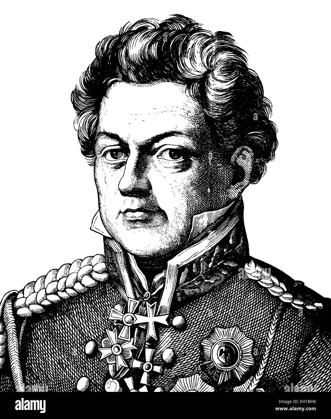 Digital improved image of August Neidhard, Graf von Gneisenau, 1760 - 1831, Prussian Field Marshall, portrait, historical - Stock Image