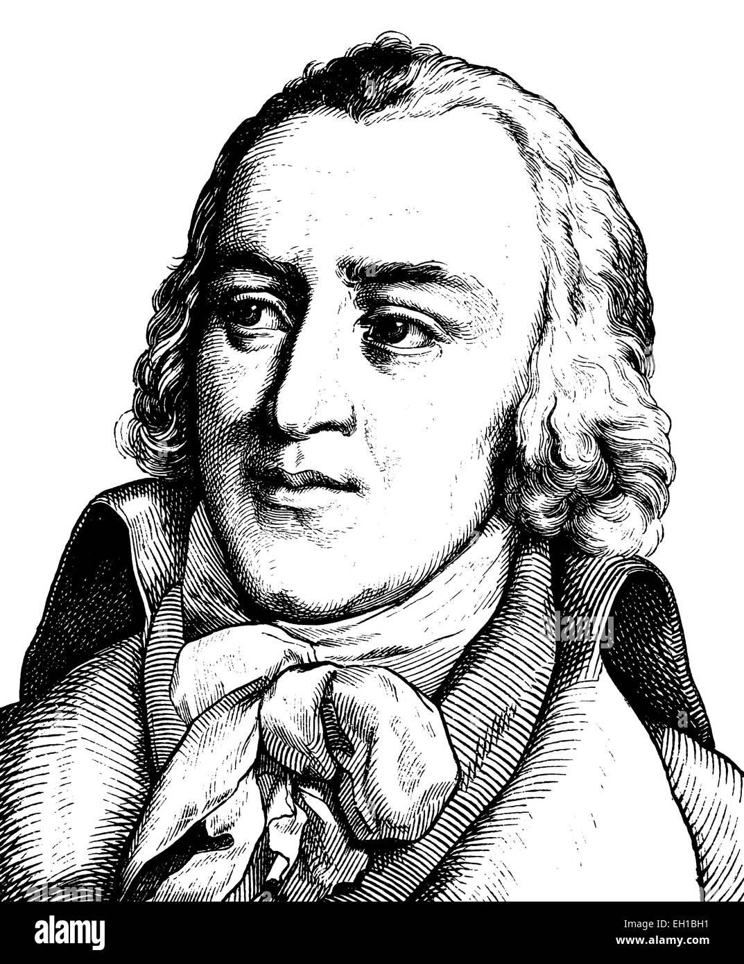 Digital improved image of Friedrich von Matthisson, 1761-1831, lyric poet, lyricist and prose writer - Stock Image
