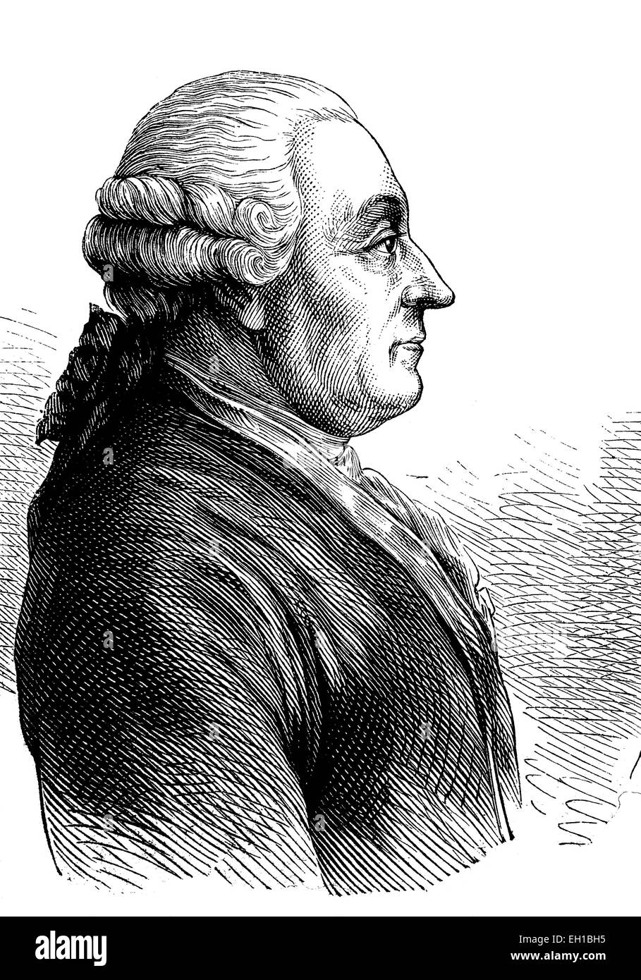 Goethe's Vater, Johann Caspar Goethe, 1710-1782, historische Illustration, 1877 - Stock Image
