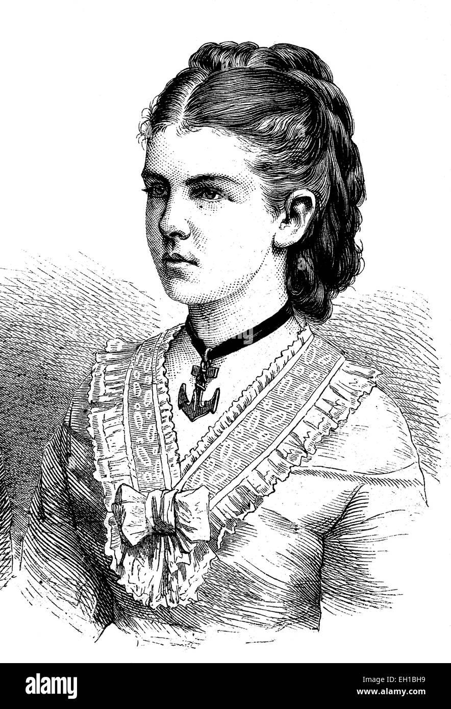 Princess Elizabeth Anna of Prussia, 1857 - 1895, wife of Grand Duke Friedrich August of Oldenburg, historical illustrati on, 1877 Stock Photo