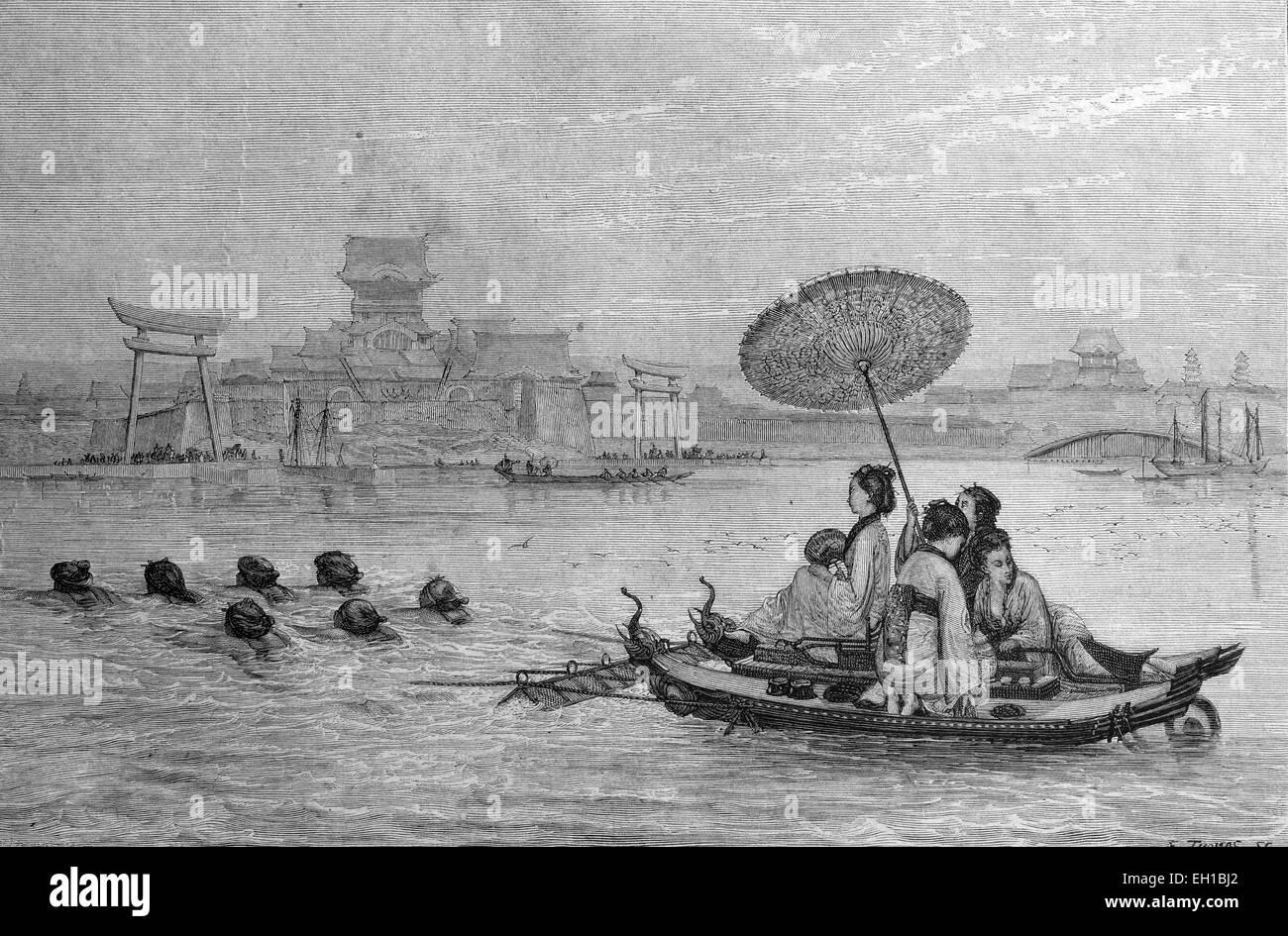 Japanese ferry, Japan, historic illustration, 1877 Stock Photo