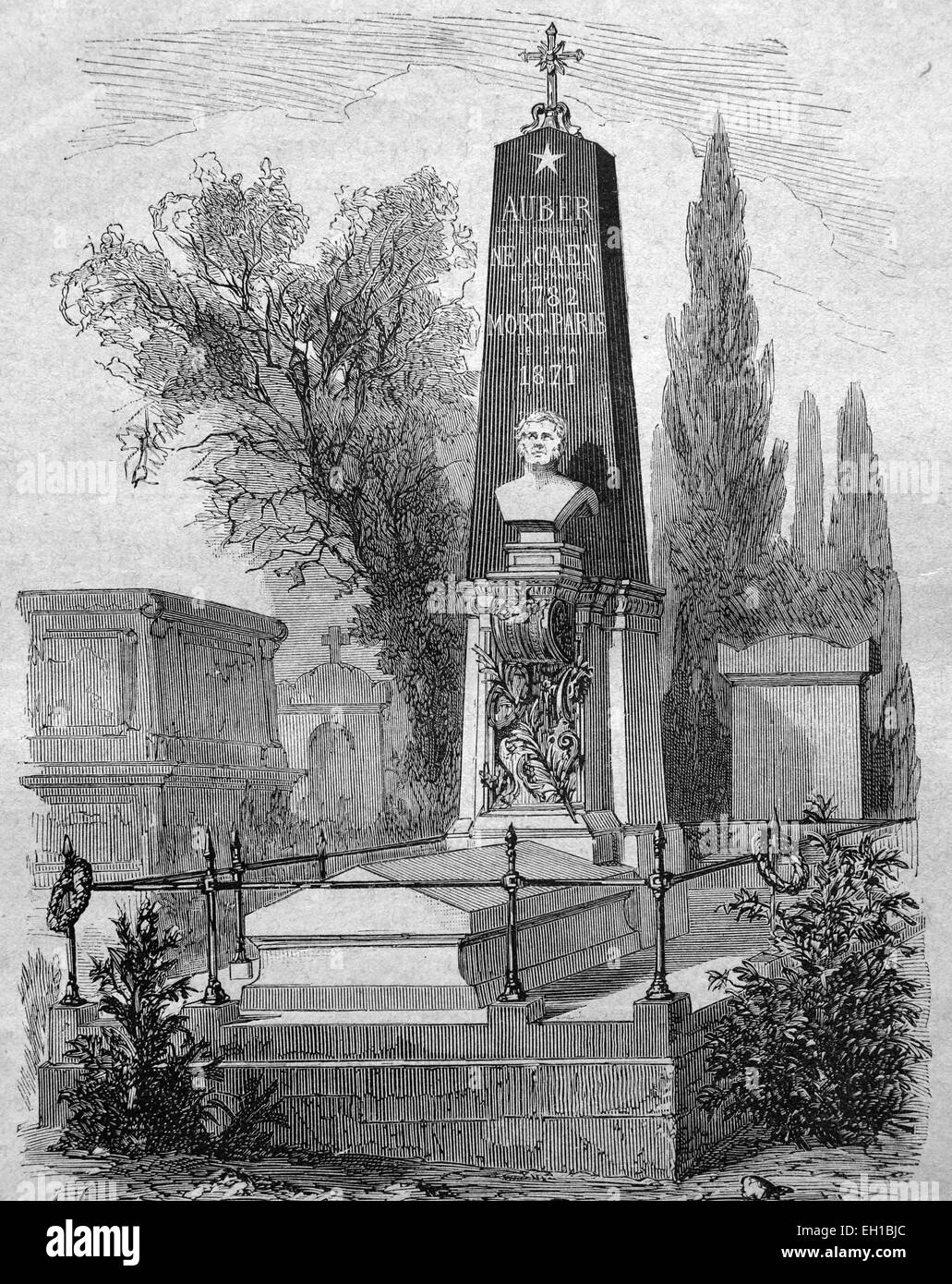 Tomb of Daniel Francois Esprit Auber on a cemetery in Paris, French composer, historic illustration, 1877 - Stock Image
