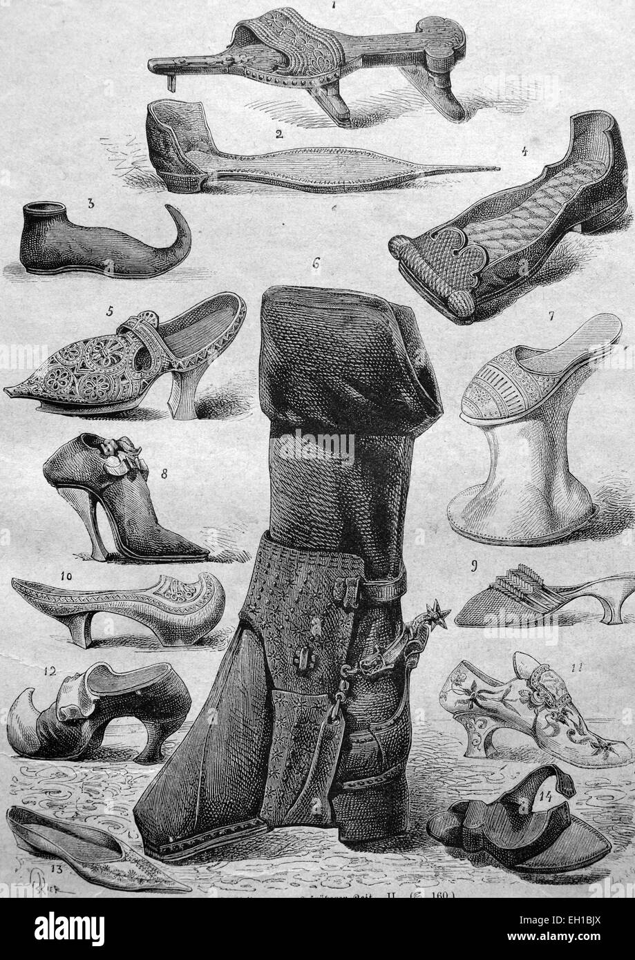 Shoe fashion from the Middle Ages, 1 crutch shoe, 2 - pointed peak shoe or poulaine, 3 - peak shoe or poulaine, - Stock Image