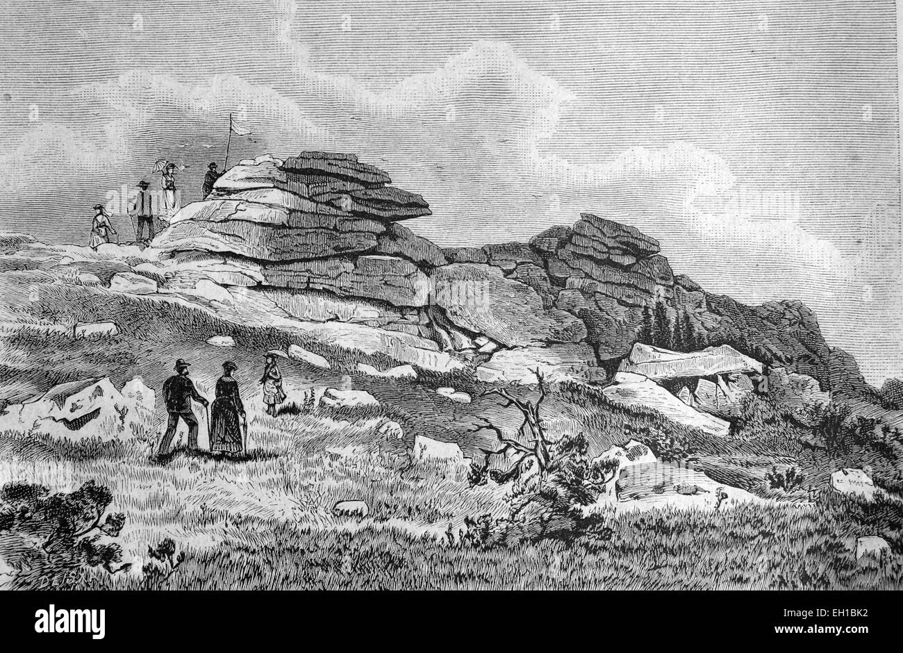 The witches altar on the Brocken, Harz, Germany, historical illustration, 1877 - Stock Image