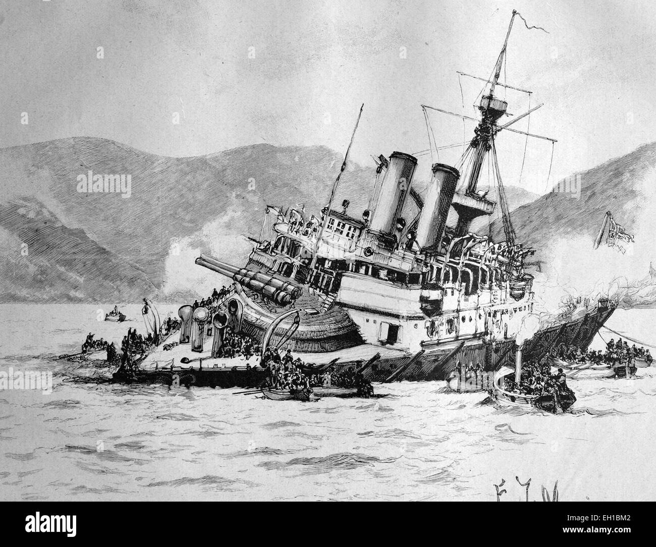 Shipwreck of the British battleship Howe at Ferrol in Spain, historical illustration circa 1893 - Stock Image