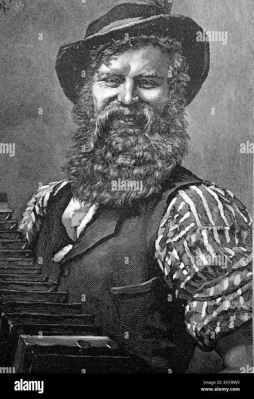 Musician, historical picture, about 1893 - Stock Image