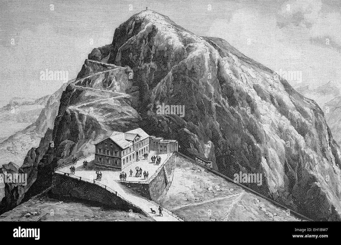 Summit of Pilatus mountain, Pilatuskulm Hotel, Switzerland, historical picture, about 1893 - Stock Image
