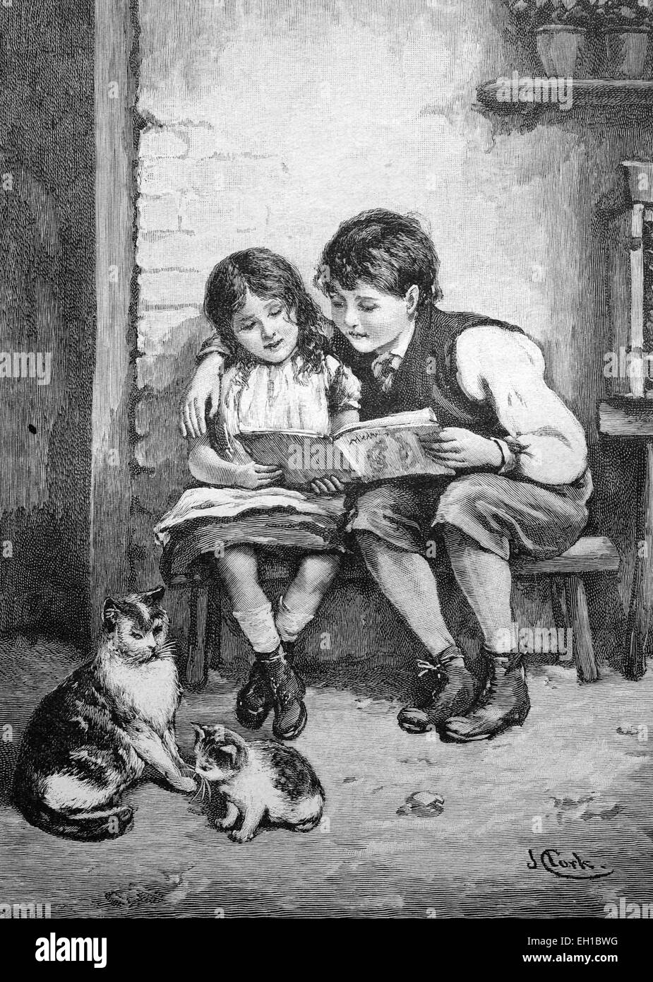 Children reading a book, historical picture, about 1893 - Stock Image