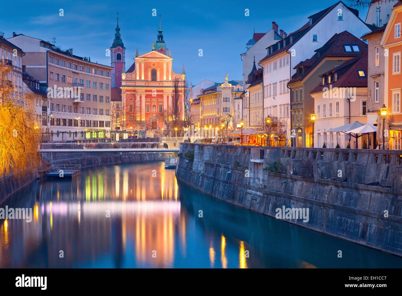 Ljubljana.  Image of Ljubljana, Slovenia during twilight blue hour. - Stock Image