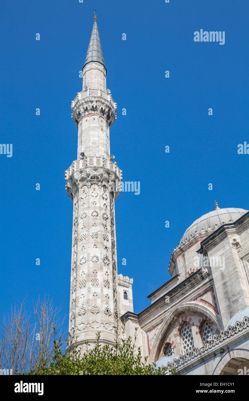 Detailed view of minaret in Mosque - Stock Image