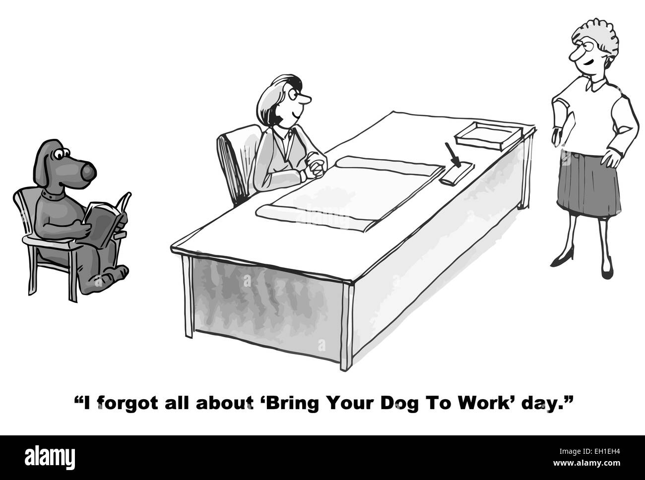 Awe Inspiring Cartoon Of Businesswoman At Desk With Her Dog Coworker Says Download Free Architecture Designs Scobabritishbridgeorg