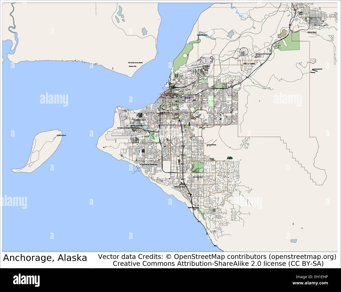 Anchorage Alaska USA city map Stock Vector Art & Illustration ...