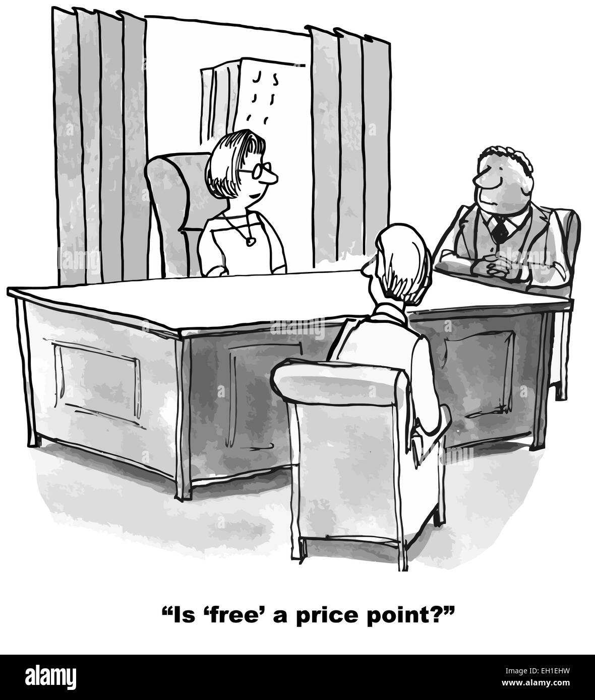 cartoon of business meeting businesswoman asks if free a price