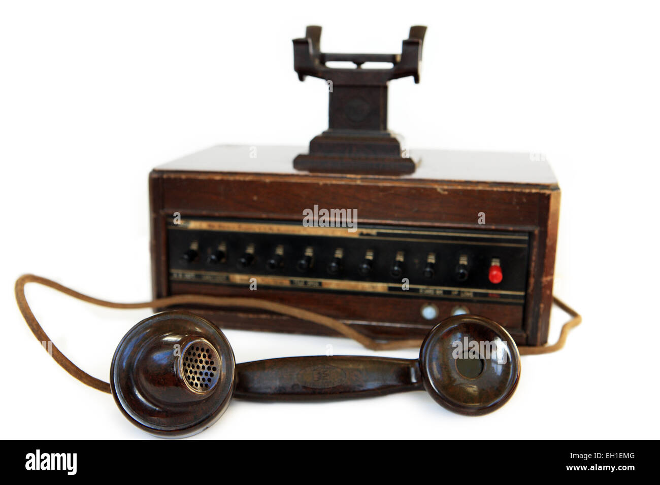 1940's Dictograph telephone system and Bakelite phone - Stock Image
