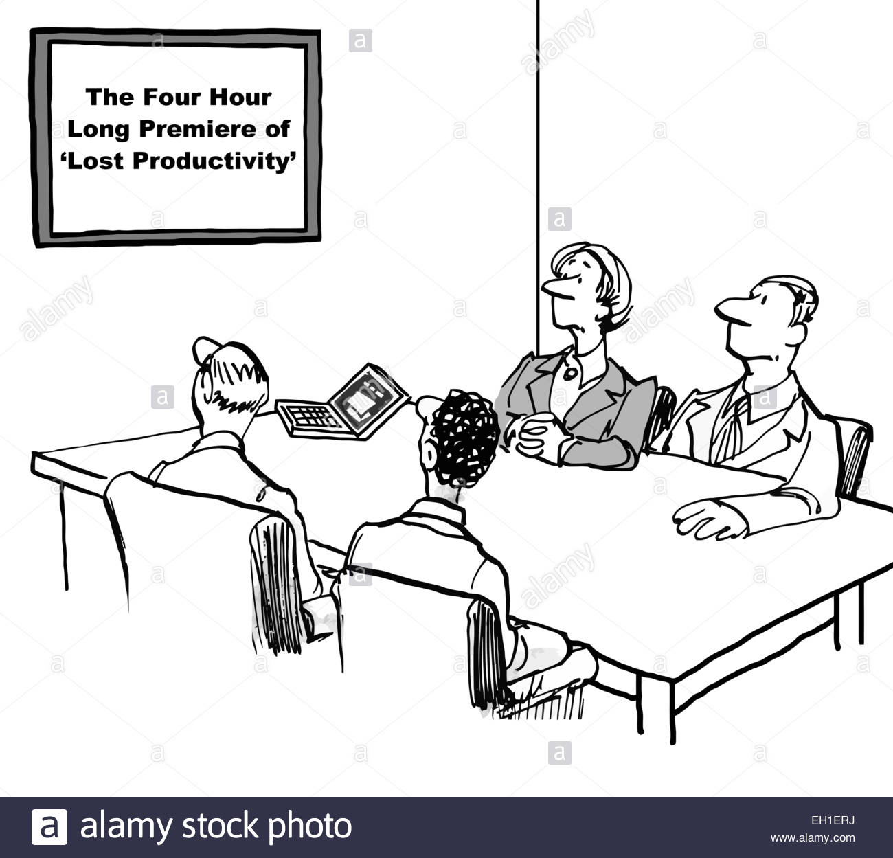 Cartoon of business meeting. They are to watch a video: the four hour long premiere of 'lost productivity'. - Stock Image
