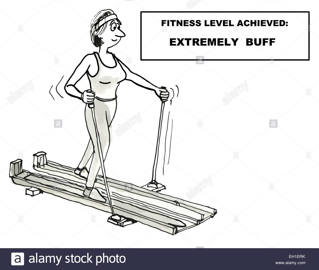 Cartoon of woman exercising - fitness level achieved: extremely buff. - Stock Vector