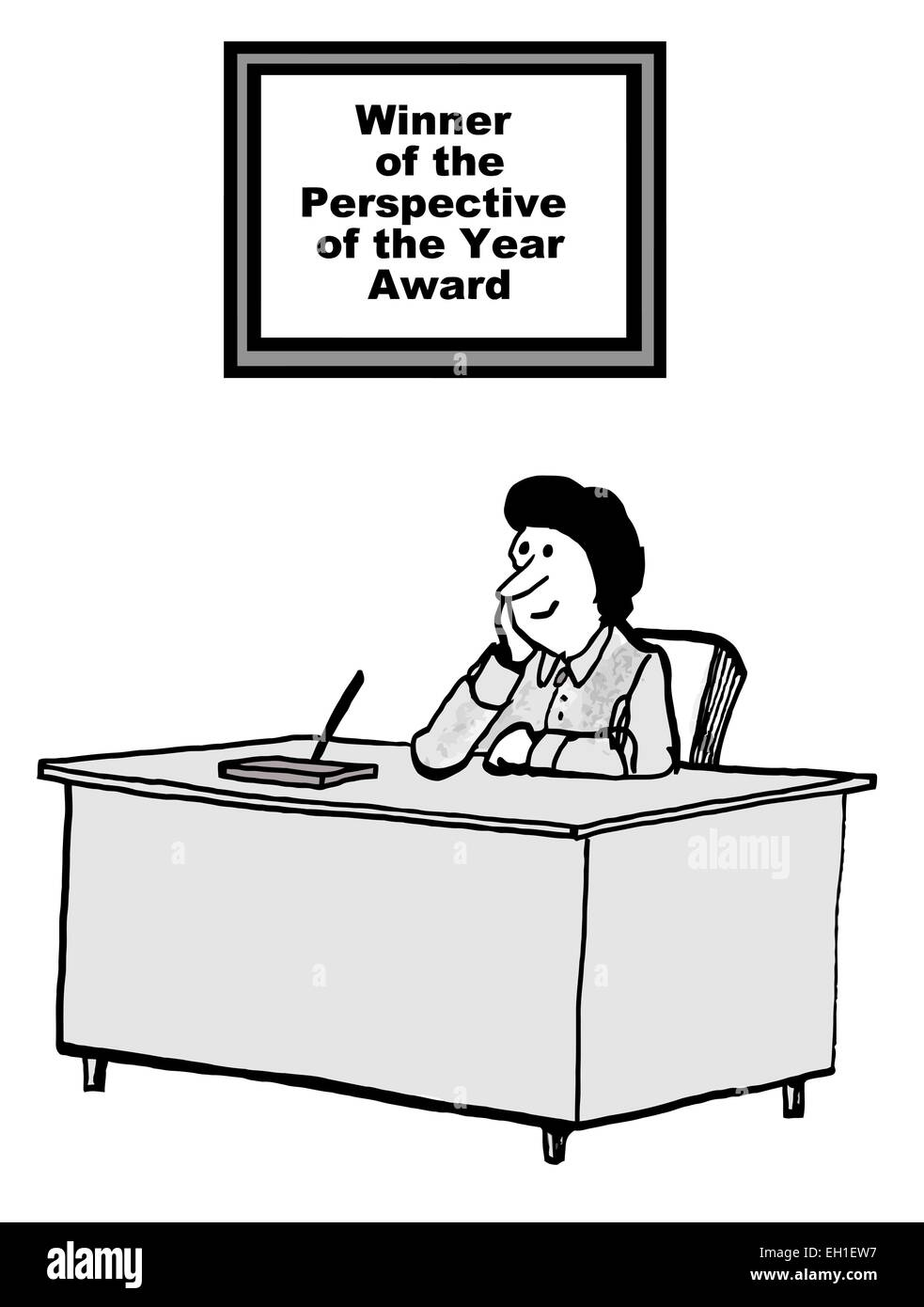 Cartoon of businesswoman with sign saying: winner of the Perspective of the Year Award. - Stock Vector