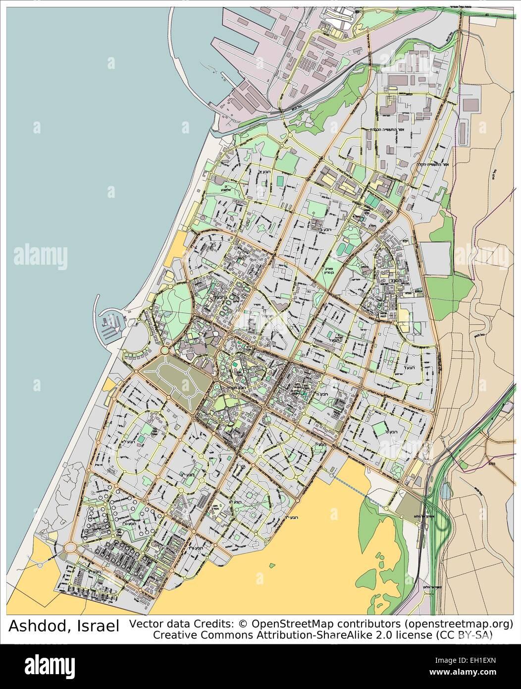 Ashdod Israel city map Stock Vector Art Illustration Vector Image