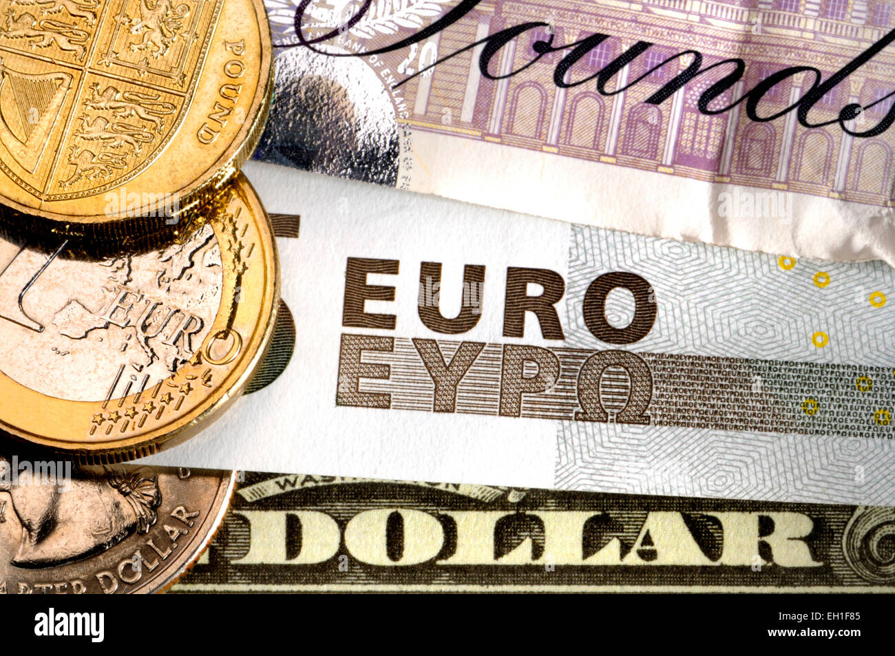 Pounds Euros And Dollars Stock Image