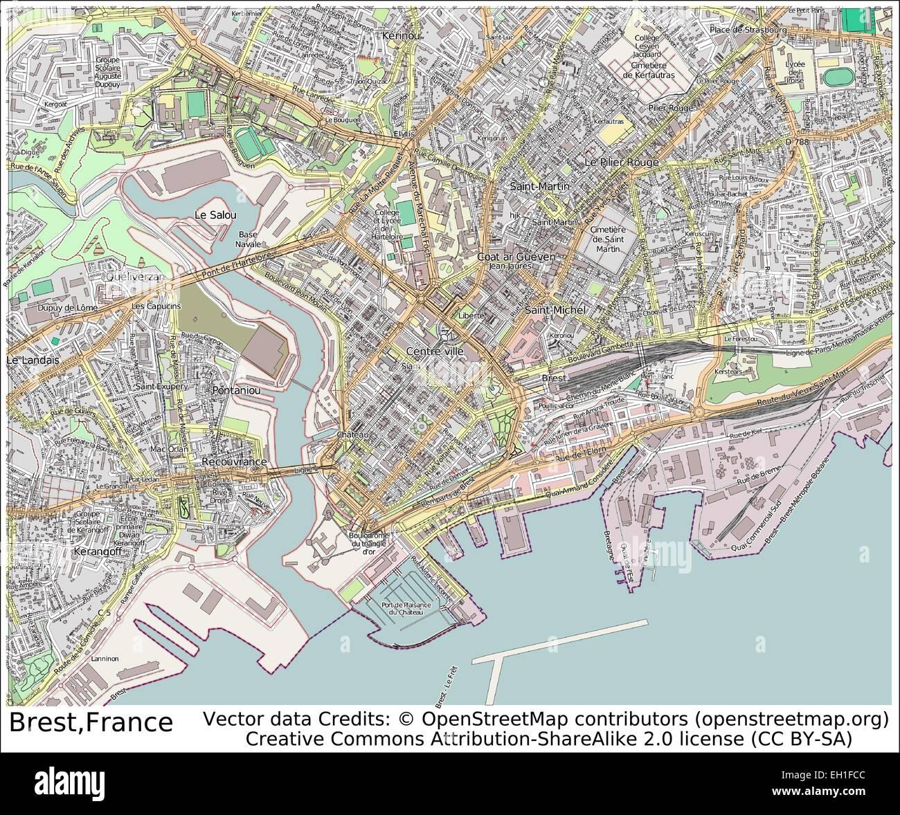 Brest France city map Stock Vector Art Illustration Vector Image