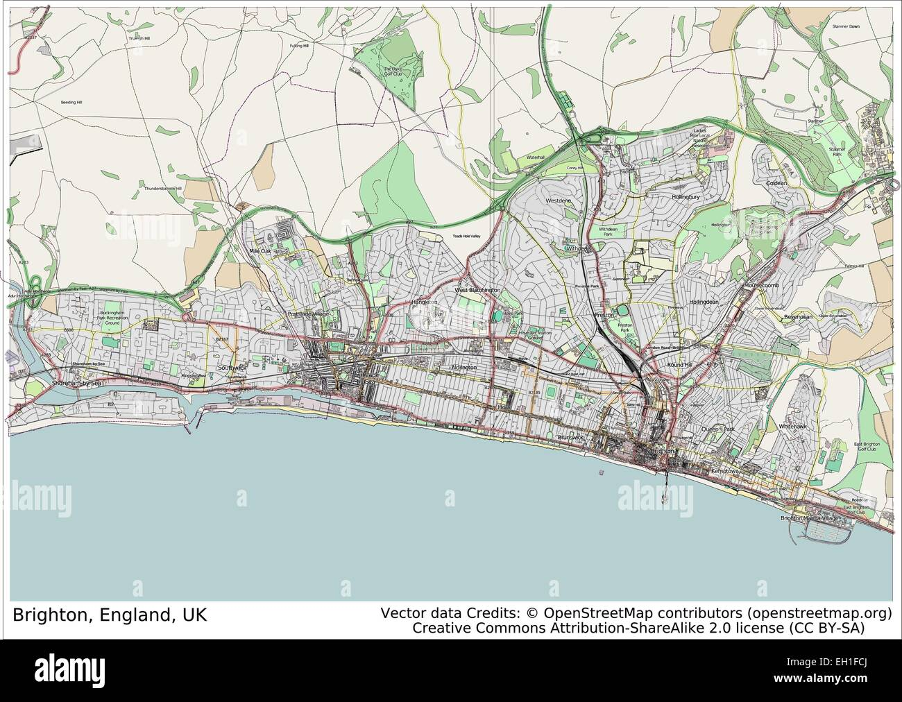 Map Of England Brighton.Brighton England Uk City Map Stock Vector Art Illustration Vector