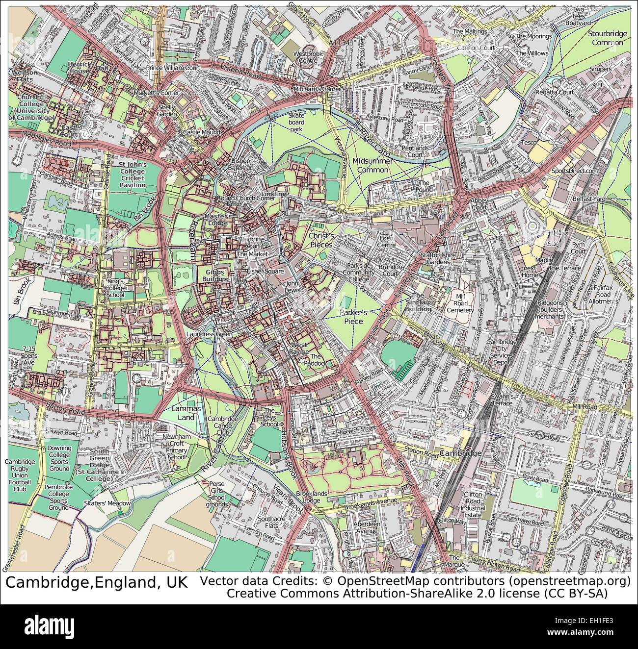 Cambridge England UK city map Stock Vector Art Illustration