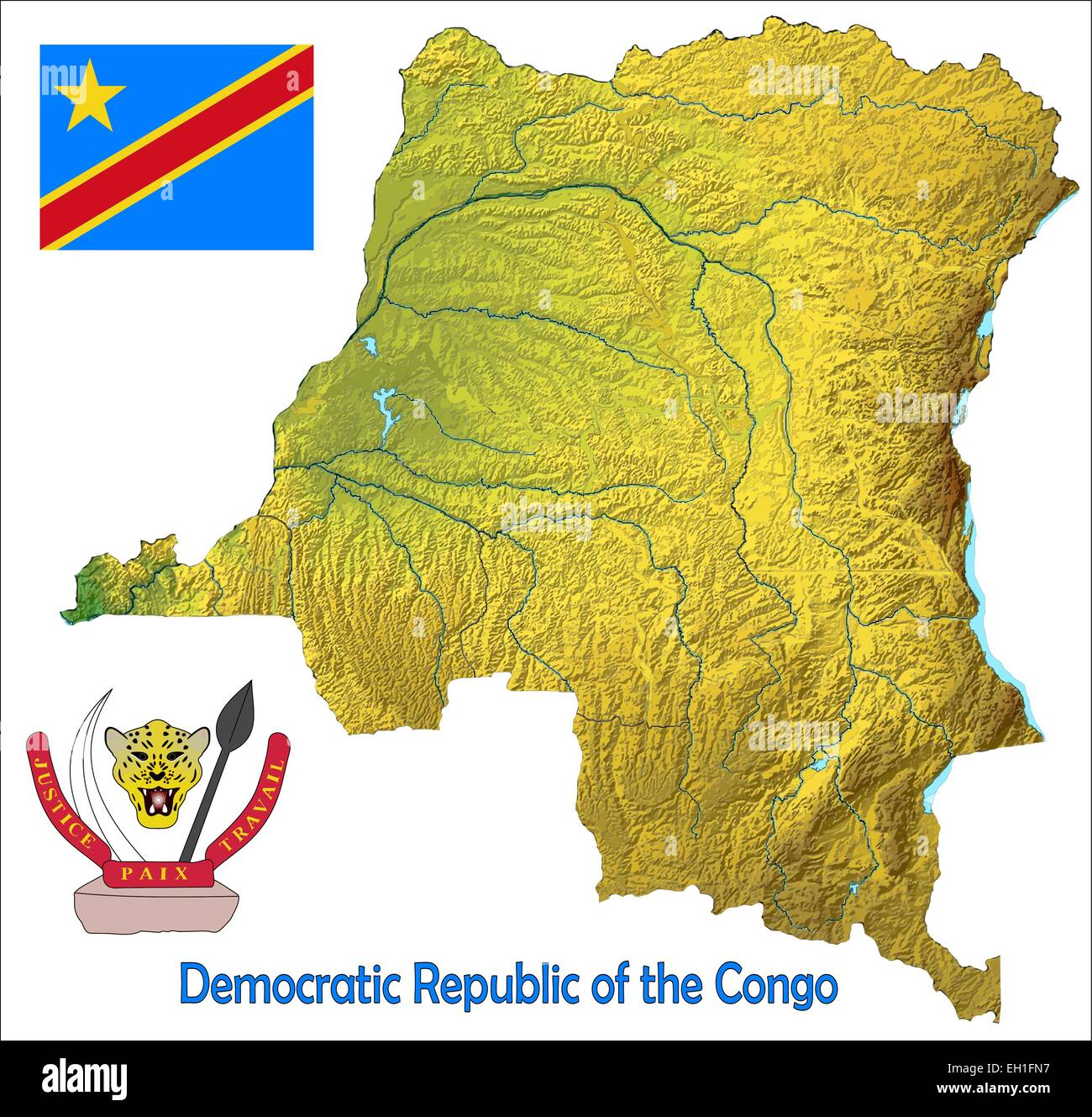 Democratic Republic Congo map flag coat Stock Vector Art ...