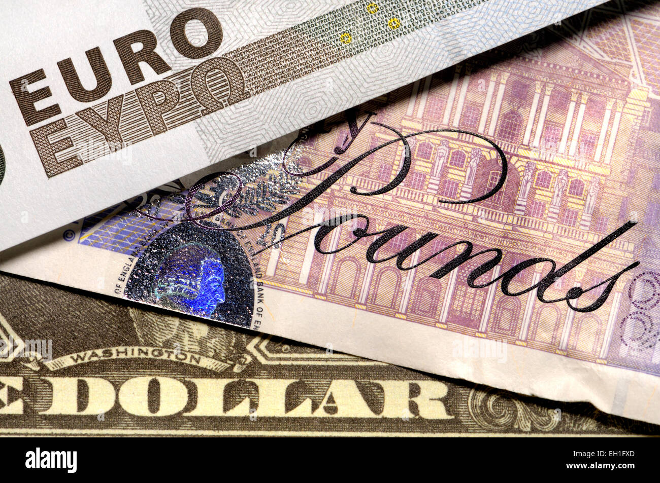 Pounds, Euros and Dollars - Stock Image