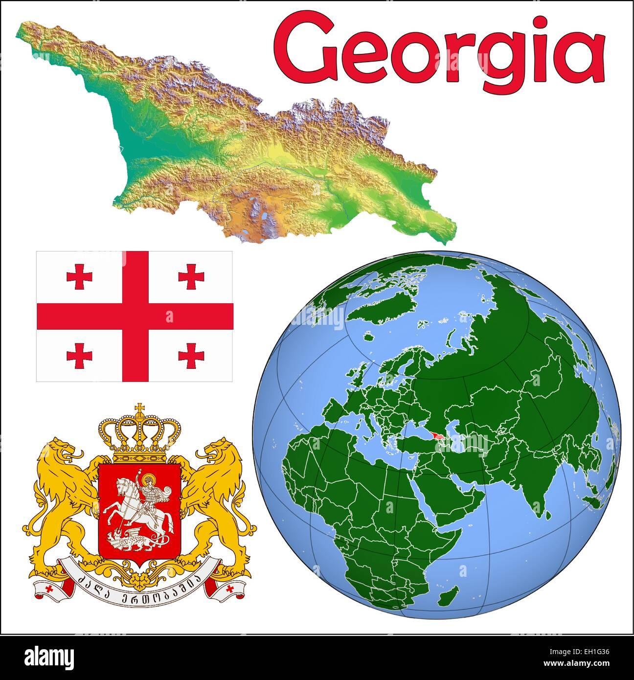 Georgia globe location Stock Vector Art & Illustration ...