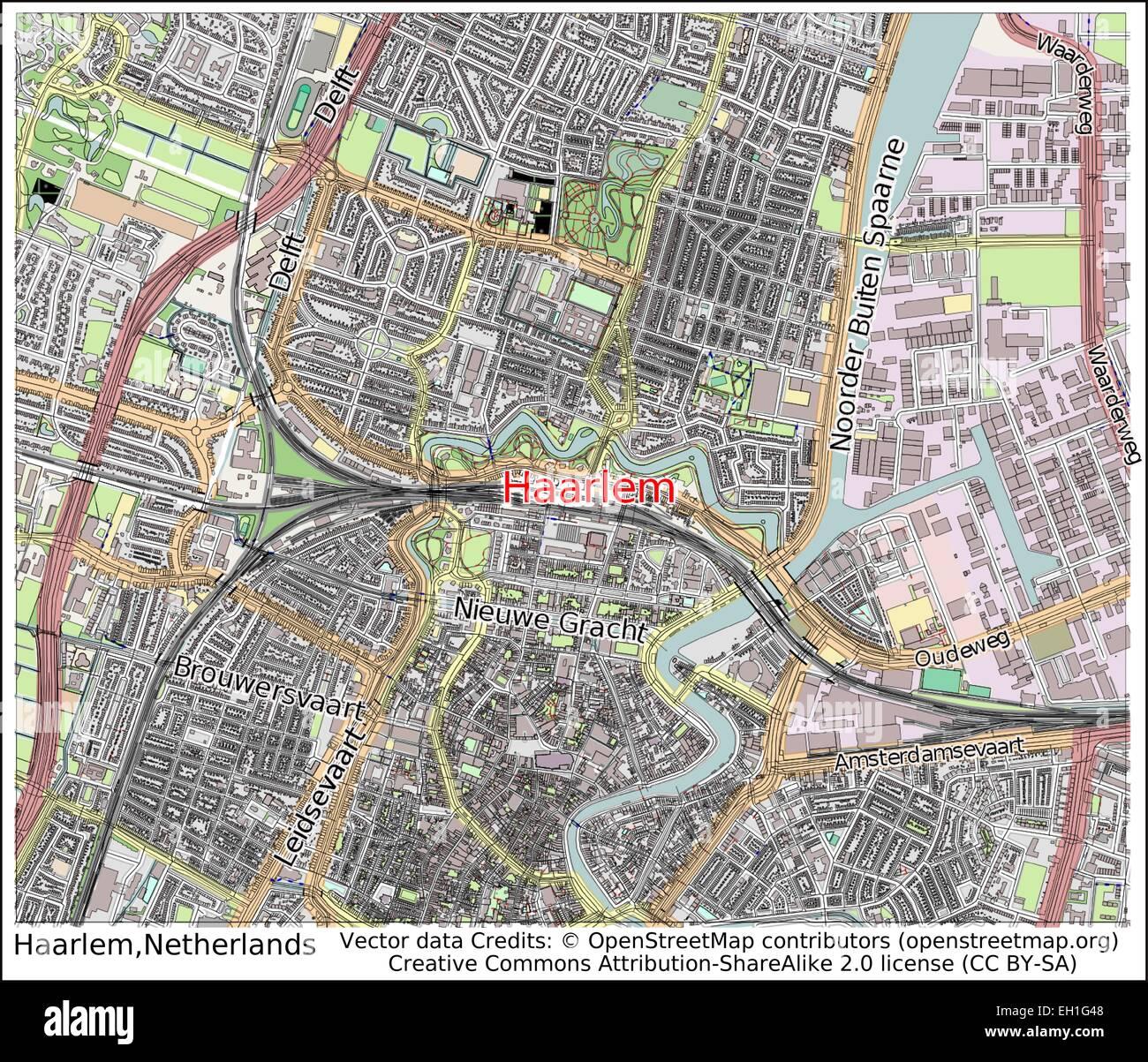 Haarlem Netherlands city map Stock Vector Art & Illustration, Vector ...