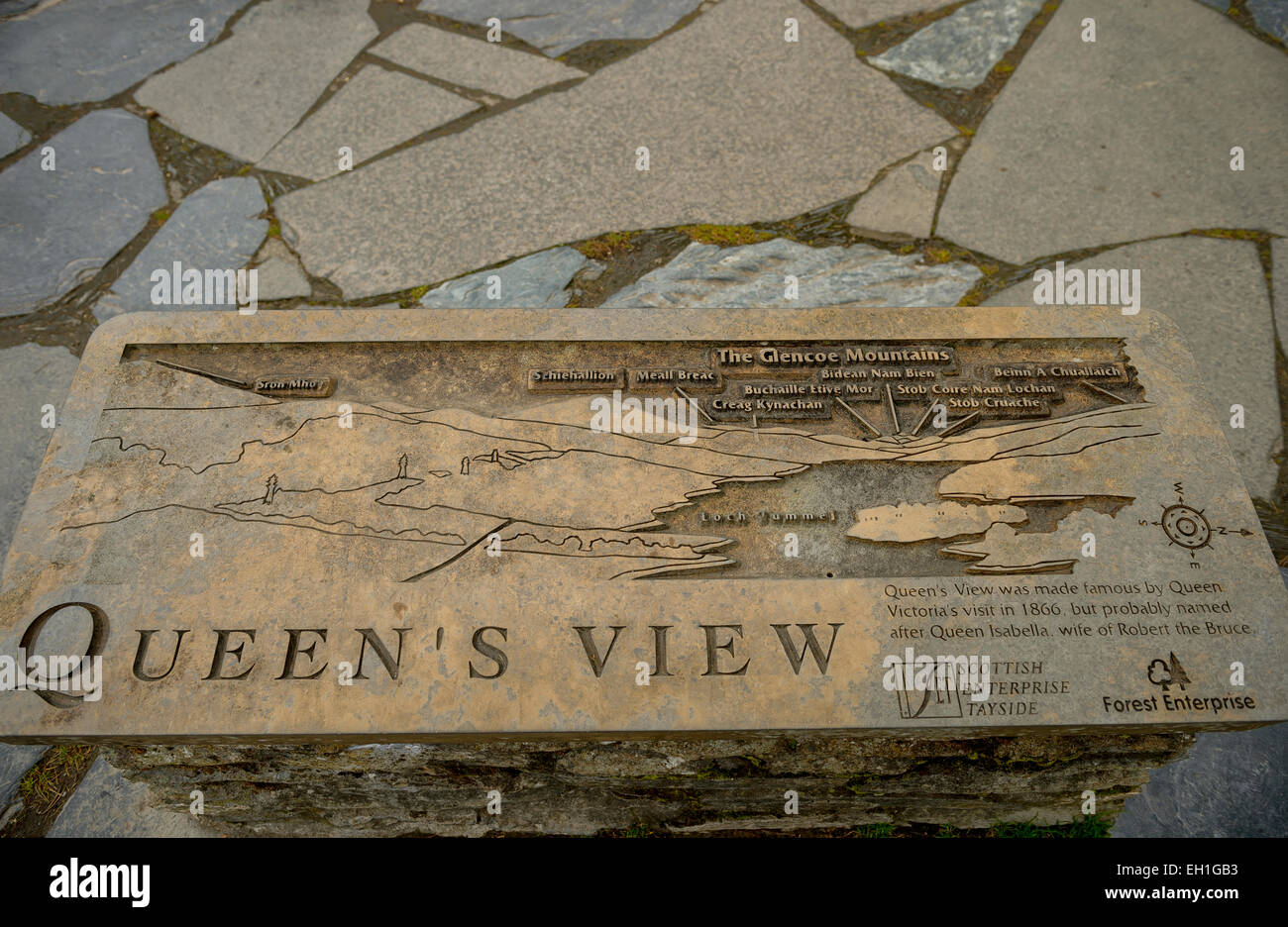 Queen's View orientation diagram on a stone plinth in the Loch Tummel viewing area. - Stock Image