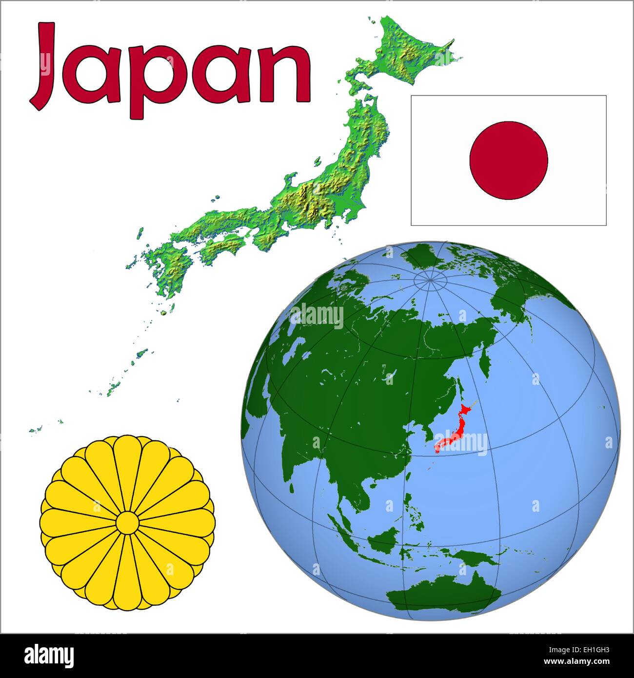 Japan Globe Location Stock Vector Image Art Alamy
